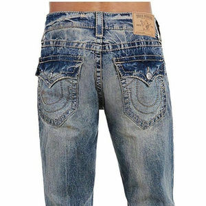 True Religion Men's Slim Fit Earthworm Big T Jeans